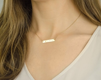 Bar Necklace, Personalized Name Plate Necklace, Layered Necklace, Gold Bar Necklace, Gold Name Bar Necklace, Custom Name Jewelry, nameplate