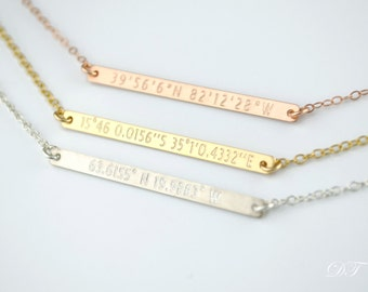 Custom coordinates necklace, Bar Necklace, Layering Necklace, Personalized Gold Bar Necklace, name plate necklace, Custom Name Jewelry