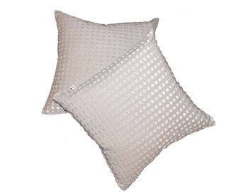 Silver Dot Down Feather Filled Pillows 18x18