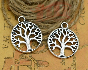 30pcs Tree of Life Charms Antique Silver Tone 2 Sided Just Lovely - SC2198