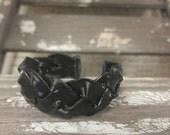 Braided Cuff Vinyl Record Bracelet - Black Cuff Bracelet - Rock Style Braceket - Vinyl Records - Gothic Accessories - Vinyl Record Art