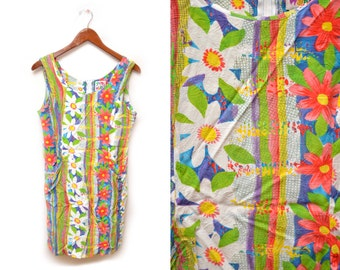 80s Jam's World Sleeveless Dress Patterned Floral Fun 11 Medium