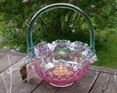 RESERVED FOR JM Fenton Basket Iridescent Pink Green Colonial Thumbprint Ruffled Signed Bill Fenton Vintage