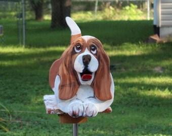 Basset Hound Mailbox , Basset hound gift,  painted mailbox, dog lover gift, custom mailbox, wooden mailbox, basset decoration