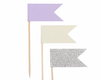 Lavender Ivory Silver Cupcake Flags / Lilac Cupcake Topper Flags / Pastel Purple Cupcake Topper Flags / Silver Glitter Cupcake Topper Flags