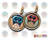 SUMMER OWLS - 20mm, 16mm, 10mm size images Printable Download for Earrings, Cuff links, Pendants, Crafts, Rings, Bottle Caps, Bracelets