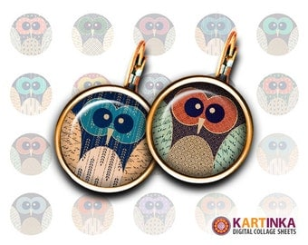 20mm, 16mm, 10mm size Printable images OWLS DIY Glass cabochons download for Earrings Cuff links Pendants Rings Bottle Caps Bracelets Crafts