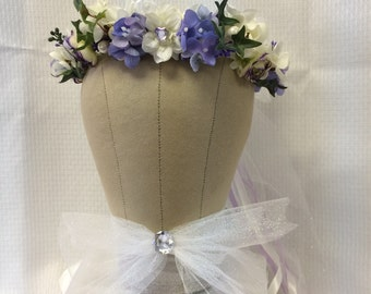 Flower Girl Silk Floral  Crown Floral Wreath