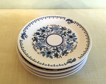 Noritake Progression BLUE MOON Bread Plates (4) Blue White & Green Floral Dishes Pattern 9022  Japan 1969-1980 Very Good Cond. 6 1/4 in