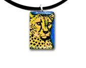 yellow, Cheetah, hand painted, handmade, glass tile pendant, kid friendly art, yellow and blue