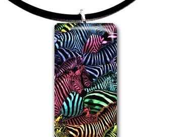 rainbow, Zebra, art pendant, handmade jewelry, kid friendly animal art, glass tile pendant, rainbow colors