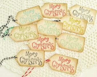 Merry Christmas tag set of 10