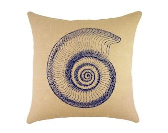 "Navy Shell Burlap Pillow 16"", Coastal Accent Pillow"