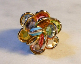 Rhinestone Flower Ring   Big & Bold    Open Back Ring  Size 7-8  Multi Color Petals