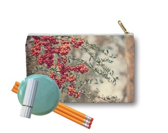 Clutch Bag Zippered Pouch Red Berries