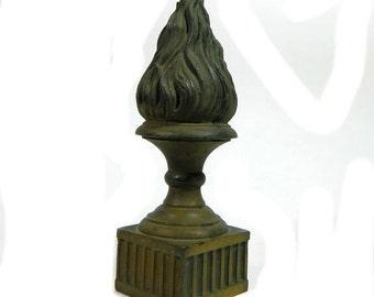 Antique Bronze Eternal Flame Finial Statue Architectural