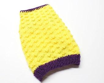 Hand Knit Yellow and Purple Dog Sweater