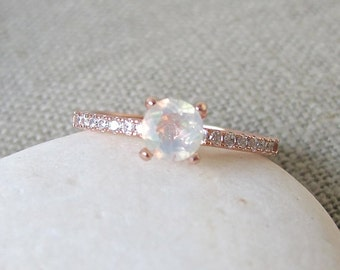 4 Prong Opal Ring- Promise Ring- Engagement Ring- Rose Gold Opal Ring- Classic Engagement Ring- Rings for Her- Stone Ring- Natural Opal Ring