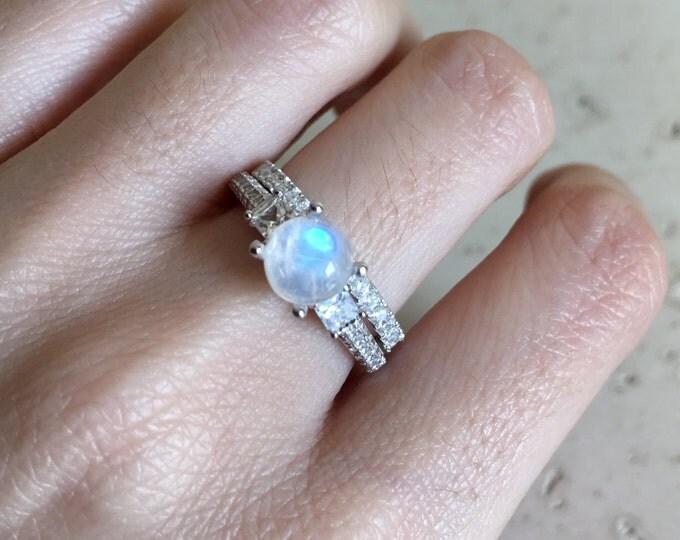 Moonstone Bridal Set Ring- Promise Ring- Engagement and Wedding Ring- Wedding Set Ring- June Ring- Rainbow Moonstone Ring- Bridal Set