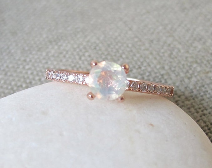Featured listing image: 4 Prong Opal Ring- Promise Ring- Engagement Ring- Rose Gold Opal Ring- Classic Engagement Ring- Rings for Her- Stone Ring- Natural Opal Ring