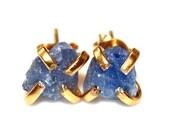 Raw Sapphire Stud Earrings Organic Earrings Sapphire Jewelry Free Form Earrings December Birthstone Sapphire Prong Set Earring Raw Gemstones