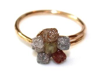 Raw Diamond Ring Diamond Cube Ring Real Diamond Jewelry Rainbow Diamond Cubes Her Gift Diamond Layering Ring Stacking Ring Flower Ring