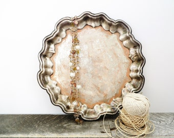 Painted Silver Tray - Peachy Ivory Patina - Unique Upcycled - Shabby Chic Decor