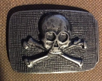 """Vintage Scull & Crossbones Belt Buckle for Your Favorite Man or Buckle Collection, 3 1/2"""" Long X over 2 1/4"""" Wide, Made in Italy"""