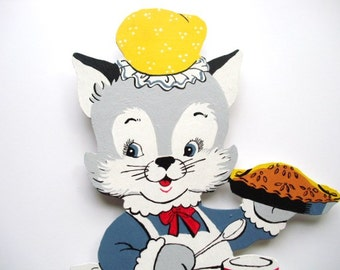 """Vintage 1950's style hand painted wood kitten sign holding pie-16"""" tall x 8-1/4"""" wide, ready to hang"""