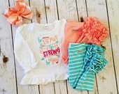 Be Brave,Be Strong, Be You embroidered ruffle shirt-M2M Sew Sassy Peach- m2m Sew Sassy Cyan