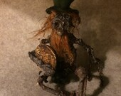ooak Irish dead LEPRECHAUN  Fantasy fairy miniature doll art goth dollhouse sideshow gaff Hoax joke