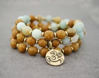 Beaded Stretch Bracelet, om bracelet, yoga jewelry, amazonite, om charm, wrap bracelet, beaded bracelet