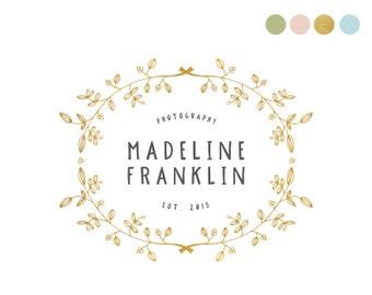 Gold Foil Logo Design. Feminine Logo. Elegant Logo. Gold Logo. Hand Drawn Logo Gilded Logo Womenswear Logo Fashion Logo Photography Doodle
