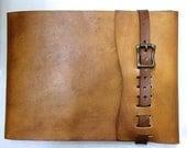 Large, Refillable Leather Sketchbook, Antique Brass Metal Roller Buckle - sketchbook cover, Journal , Drawing Book, Leather Bound, Album