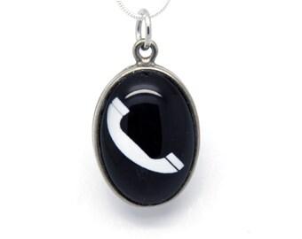Necklace vintage black phone