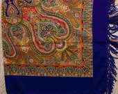 Russian shawl. Ukrainian Hustka. Blue Platok Babushka. Folk Scarf. Ethnic Babushka. SHAWL abstract chale russe, scialle fiori, manton