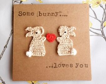 Valentine/Anniversary Bunnies & Heart Crochet Greeting Card,