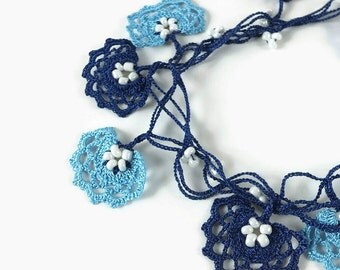Crochet Necklace Blue and Navy Blue  Flowers Long Wrap Necklace Oya Lace Necklace  Crocheted Jewelry ,Beaded Lariat,  Metal free