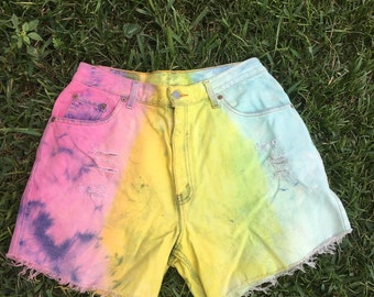 Vintage Levi High Waisted Shorts Dyed Pink Yellow and Blue Rainbow