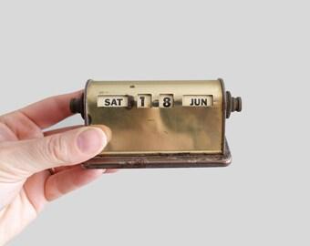 Vintage Brass Perpetual Desk Calendar