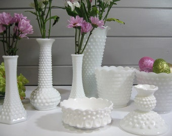 Hobnail Milk Glass, Vases Planter Candle Holders,  Wedding Decor, Set of 8