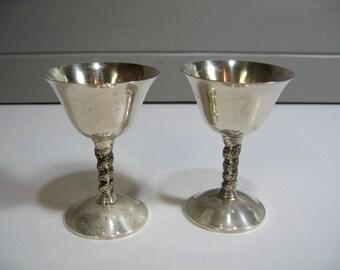 Silver Plate Goblets, Vintage Wine Goblets, First Toast, Vintage Wedding, Set of Two