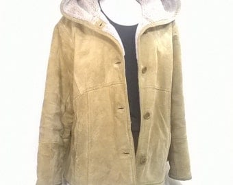 Heavy Winter Jacket, Tan Leather Jacket, Leather Winter Jacket, Tan Suede Coat, Vintage Leather Jacket, Leather Vintage Coat