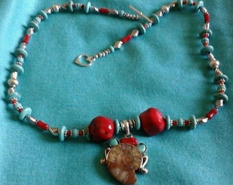 THAI sterling silver  ammonite, coral and turquoise pendant on matching necklace