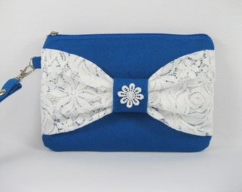 SUPER SALE - Royal Blue with White Lace Bow Clutch - Bridal Clutches, Bridesmaid Wristlet, Wedding Gift - Made To Order