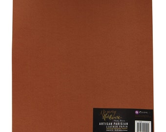 PRIMA LEATHER PARISIAN Card-Stock- Pkg. of 12 sheets  - 12x12 Leather Textured Cardstock for Projects - New !!