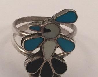 Vintage Sterling Zuni Hummingbird Ring sz 9