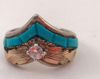 SALE Vtg Navajo S.Ray Sterling Turquoise Ring sz 9