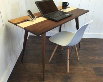 Roxbury mid century modern desk featuring black walnut, white maple & American cherry blend.