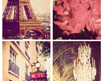 Paris photography, square photographs, discounted set, set of 4, photos of Paris, France, sale, Paris art